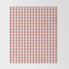 Camellia Pink and White Gingham Check Plaid Throw Blanket