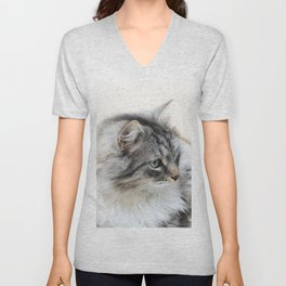 Silver Cat Unisex V-Neck