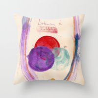 coldplay Throw Pillows featuring Painting & Coldplay by Hector Pahaut