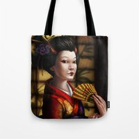 japanese Tote Bags featuring Japanese by Ayu Marques