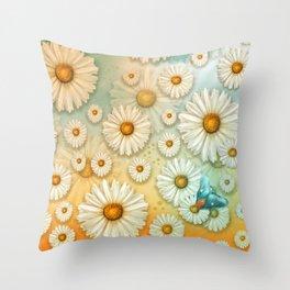 """""""Turquoise Moth &  Marguerites"""" Throw Pillow"""