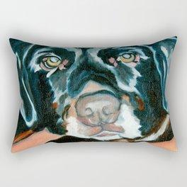 Daisy the Black Lab Dog Portrait Rectangular Pillow