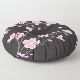 Cherry Blossom - Black Floor Pillow