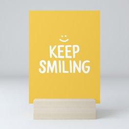 Keep Smiling Quote - Yellow Mini Art Print