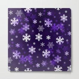 Dark Purple Snowflakes Metal Print