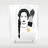 katniss Shower Curtains featuring Iconic Katniss by Arne AKA Ratscape