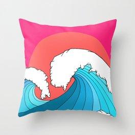 The 3 big waves Throw Pillow