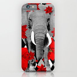 POINSETTIAS ELEPHANTS AND HARLEQUINS OH MY iPhone Case