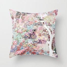 Arlington map Virginia Throw Pillow