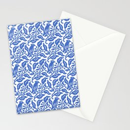 Bird and Berries Pattern Blue Stationery Cards