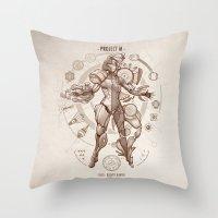 da vinci Throw Pillows featuring Project M - Da Vinci Edition by Emilie Boisvert
