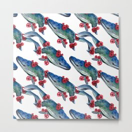 Seamless Pattern With whale and red flowers Metal Print