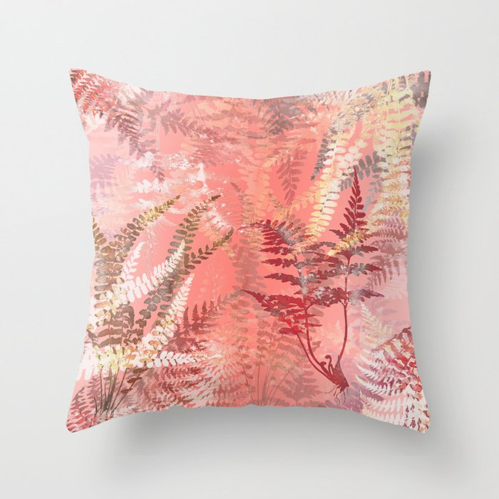 Elegant Coral Gold Fern Leaves Abstract Pattern Throw Pillow