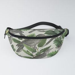 Botanical Birds in Branches Digital Collage of Vintage Elements Fanny Pack
