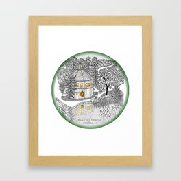 Round Barn Inn, Waitsfield, Vermont near Sugarbush- Zentangle illustration Framed Art Print