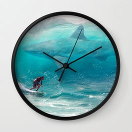 Surfing with a Giant Shark Wall Clock
