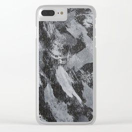 White Ink on Black Background #2 Clear iPhone Case