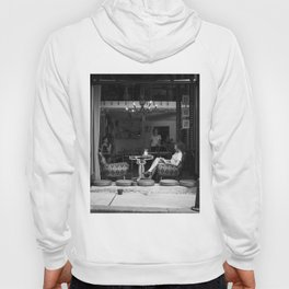 Morning coffee in a cafe - Black and white street photography Hoody