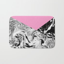 Pink Black and White Marble Colour Blocking Bath Mat