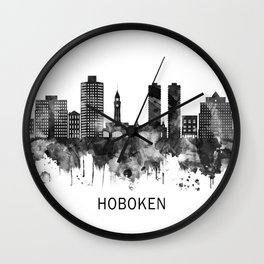 Hoboken New Jersey Skyline BW Wall Clock