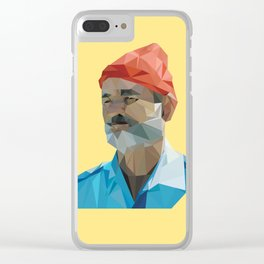 Steve Zissou low poly portrait Clear iPhone Case