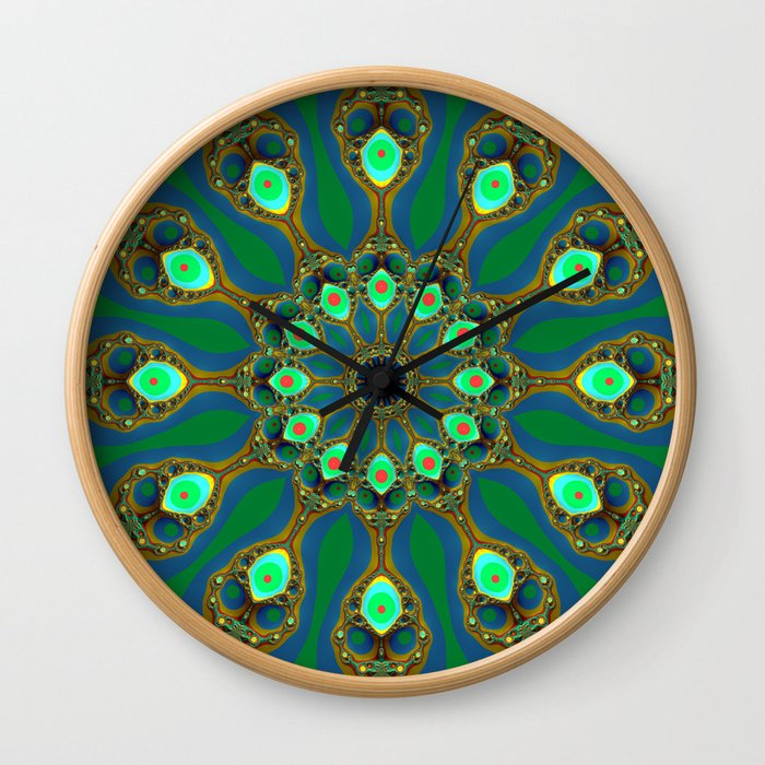Fractal jewel mandala Wall Clock