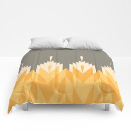 Tribal Feather Pattern Yellow Gold Comforters