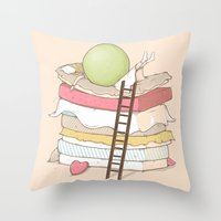 sleep Throw Pillows featuring Can't sleep by Naolito