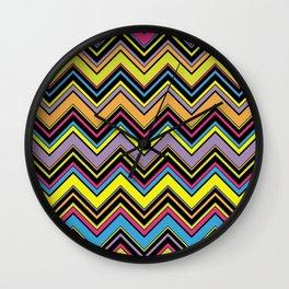 Zigzag Pattern, Chevron Pattern - Green Blue Pink Wall Clock