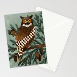 Horned Owl in the Pines Stationery Cards