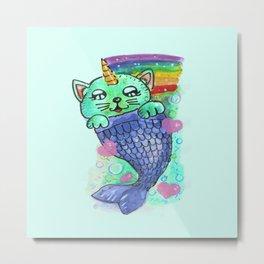 Mermaid Cat Metal Print