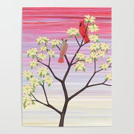 cardinals and dogwood blossoms Poster