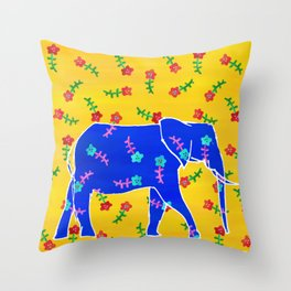 Elephant - blue Throw Pillow