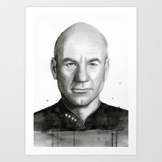 Captain Picard Watercolor Portrait Art Print