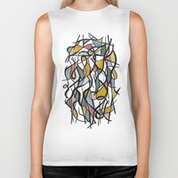 kandinsky Biker Tanks featuring Geometric Abstract Watercolor Ink by Ashley Grebe