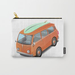 Retro bus with a surfboard. Carry-All Pouch