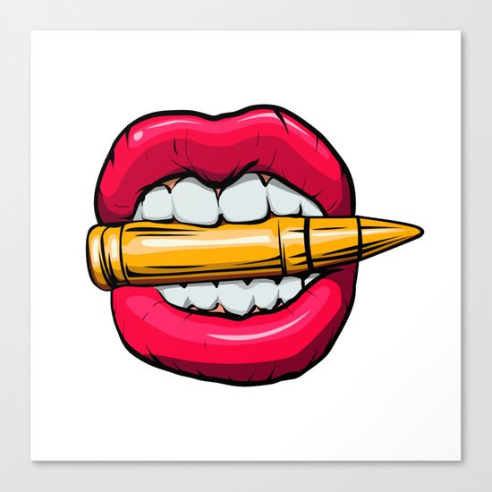 bullet in mouth. Canvas Print