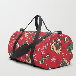 Christmas pattern with pugs Duffle Bag