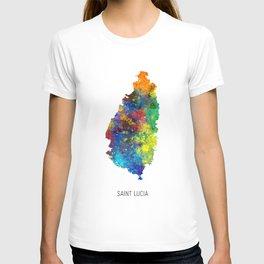 Saint Lucia Watercolor Map T-shirt