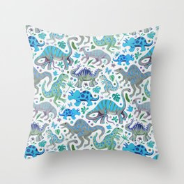 Happy Dinos - blue green Throw Pillow