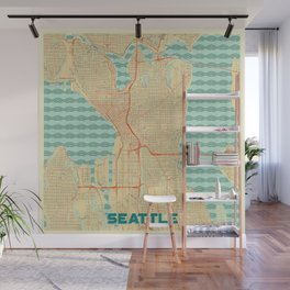 Seattle Map Retro Wall Mural
