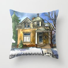 The Little Brown House Throw Pillow