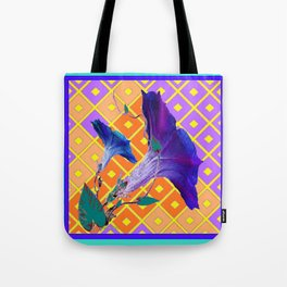 Aqua Purple Gold Morning Glories Tote Bag