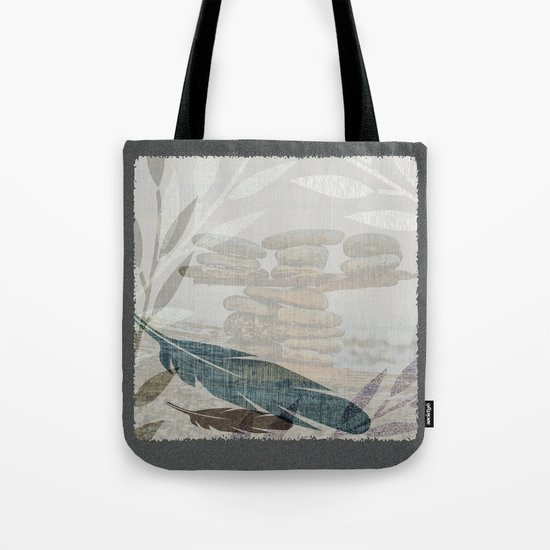 Zen Stacked Rocks on Beach Graphic Feathers and Branches Tote Bag