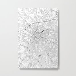 Charlotte White Map Metal Print