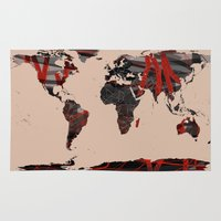 erotic Area & Throw Rugs featuring World Map Erotic Red by andréart