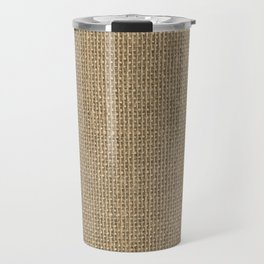 Natural Woven Beige Burlap Sack Cloth Travel Mug