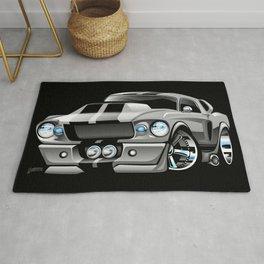 Classic Sixties American Muscle Car Cartoon Rug