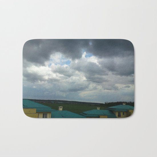 Small town in a summer stormy day Bath Mat