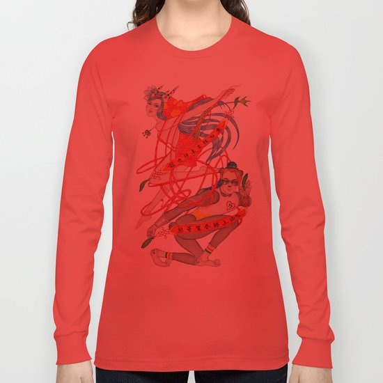 The Legendary Panda Brother & Dragon Sister  / Original A4 Illustration / Colored Pencil & Ink Long Sleeve T-shirt